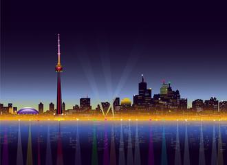Toronto at Night - Vector illustration