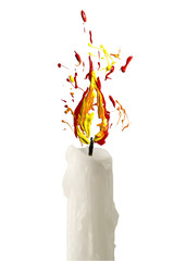Candle with flame made of paint