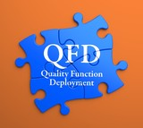 QFD on Blue Puzzle Pieces. Business Concept.