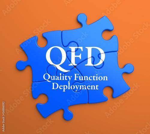 QFD on Blue Puzzle Pieces. Business Concept.