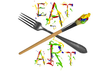Fork, paintbrush and colorful slogan