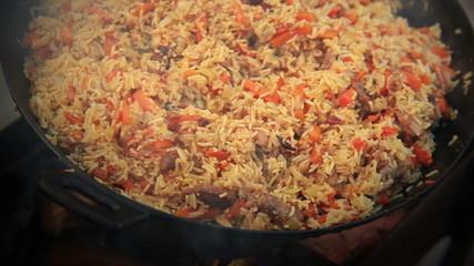 Pilaf (Plov) - Afghan, Uzbek, Tajik national cuisine main dish