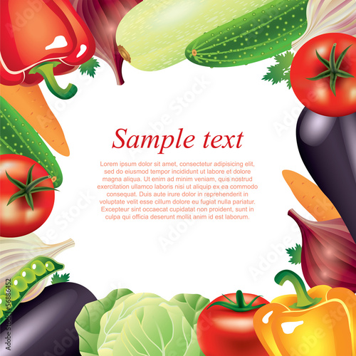 Vegetables frame vector background