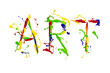 Multicolor paint painted word art