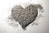 Love heart made of ash