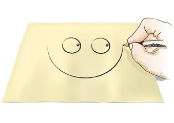 mano che disegna un sorriso