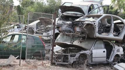 Broken car in the junkyard.
