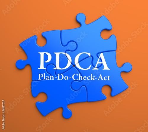 PDCA  on Blue Puzzle Pieces. Business Concept.