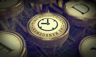 Time Management Key on Grunge Typewriter.
