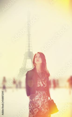 Women and Eiffel tower at background