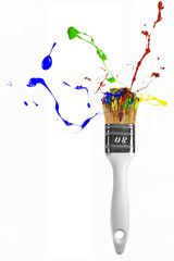 Paintbrush with multicolor paint explosion