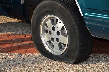 automobile with a flat tire