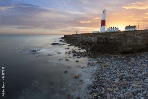Portland Bill lighthouse in Dorset at sunset