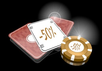 3d render of a posh discount icon  on poker cards
