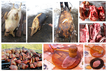 process whith passes meat from the slaughter to fresh dish