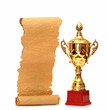gold trophy cup with blank old paper scroll isolated on white