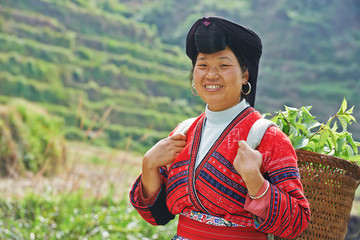 smiling chinese minority woman Yao