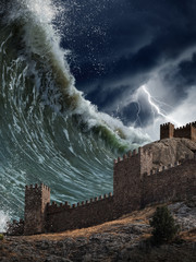 Giant tsunami waves crashing old fortress