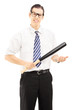 Angry man with glasses and tie holding a baseball bat