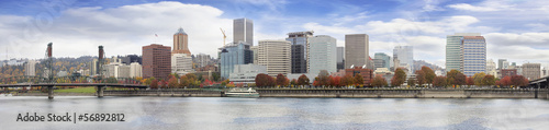 Portland Oregon Downtown Waterfront Fall Skyline