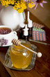 Still life from medicinal herbs, honey, herbal tea and medicines