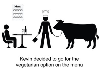 Kevin decided to opt for the vegetarian menu