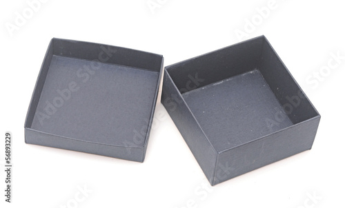 open blue gift box on white background