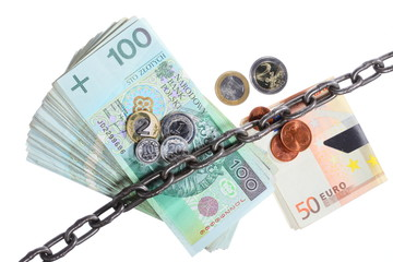 Polish and euro currency with chain for security investment