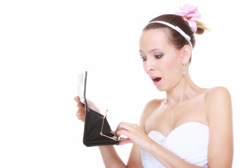 Wedding expense concept. Bride with empty purse