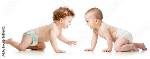 two crawling babies boy and girl