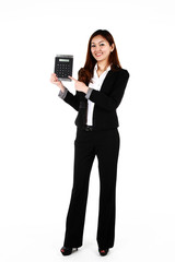 Portrait of young Asian business woman with a big calculator.