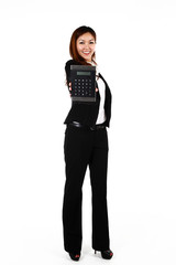 Portrait of young Asian business woman with a big calculator
