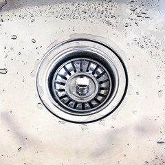 A kitchen sink with drops