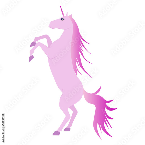 Vector Illustration of beautiful pink unicorn rearing up