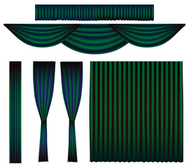 Emerald Green Curtain Theatre Vector Set