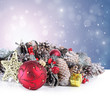 Christmas background with red ornament and garland