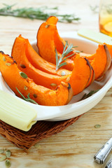 baked and juicy lobules pumpkin