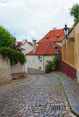 Prague, ancient narrow streets in a historical part of the city