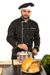 Chef man with pot with soup