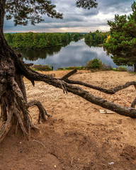 Beach on forest lake in the early autumn in cloudy weather