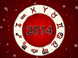 Golden 2014 astrology background with zodiac circle and signes