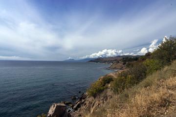 coastline with blue sky background