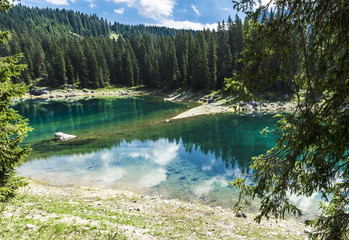 Carezza's lake colors in summer season
