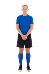 soccer player in blue uniform full length isolated on white