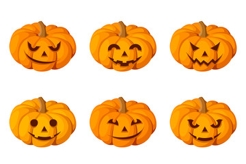 Jack-O-Lantern. Set of six Halloween pumpkins. Vector
