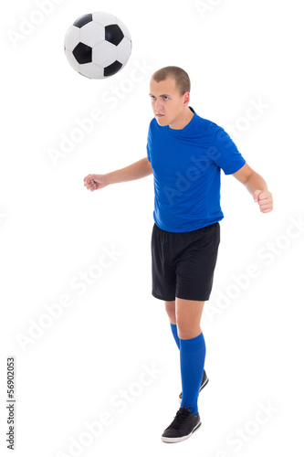 soccer player in blue kicking the ball by head isolated on white