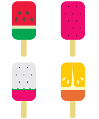 Set of Fruity Popsicle Vector