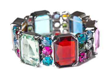 Colorful bracelet on white background