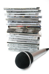 Microphone and karaoke compact discs collection