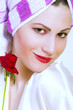 beauty woman wearing hair towel